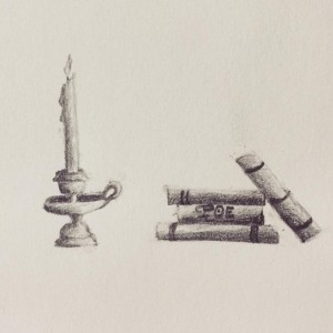 Candle and books, from Jessica's sketchbook. February 2016.